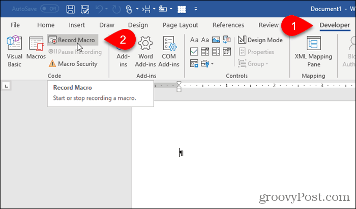 Click Record Macro on the Developer tab in Word