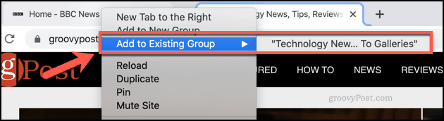 Adding further tabs to Chrome groups