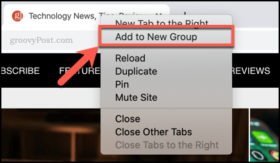 Adding a tab to a new tab group in Chrome