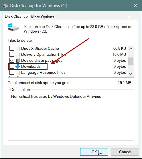Downloads Disc Cleanup Windows 10 1809