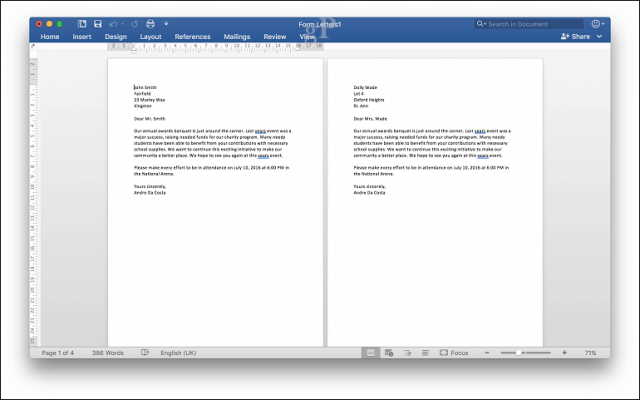 microsoft word for mac mail merge - print preview