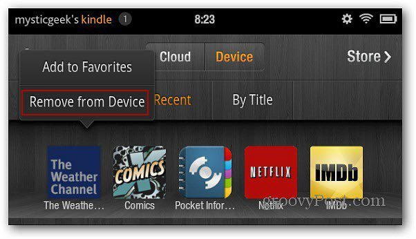 Kindle Fire Remove from Device