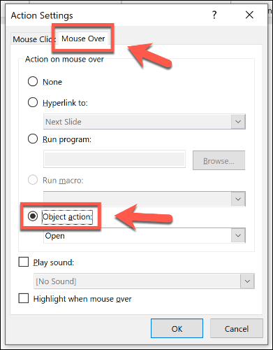 Setting an object to open with a mouse over in PowerPoint