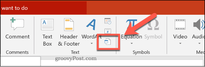 Inserting an object in PowerPoint