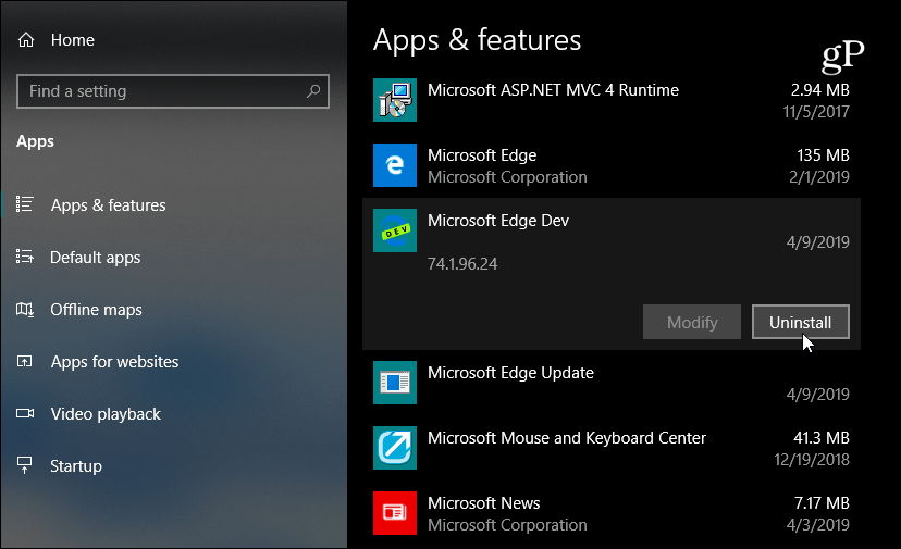 Uninstall Microsoft Edge Dev