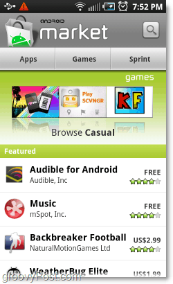 android market screen
