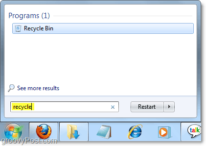 get to the recycle bin from the windows 7 start menu
