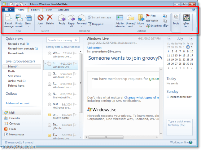 cool new ribbon for windows live mail