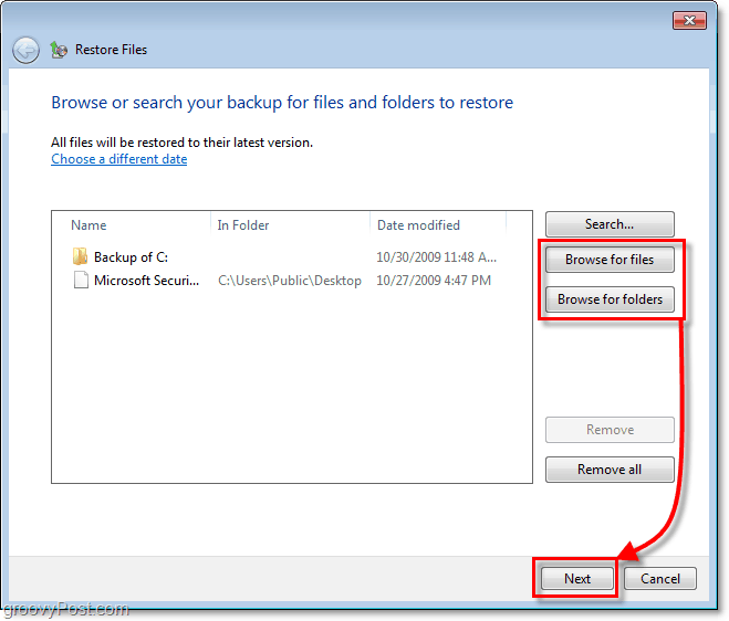 Windows 7 Backup - select which files or folders you would like to restore