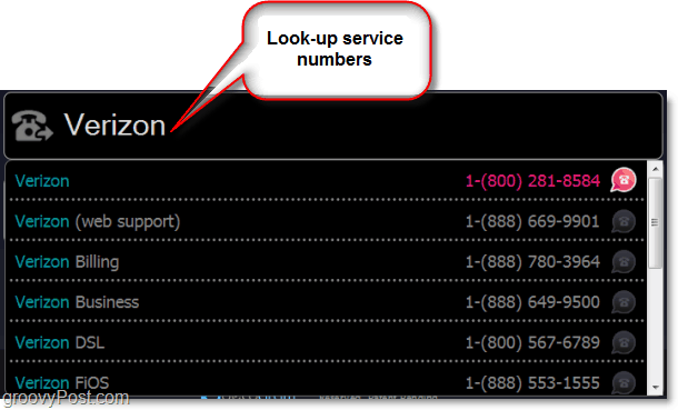 use lucyphone to look up customer service numbers