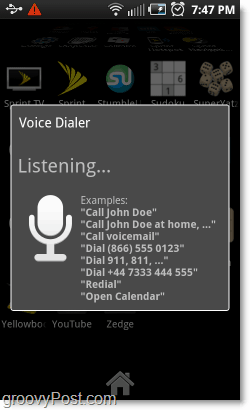 Voice dialer listening to commands on android phone
