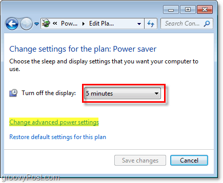 edit basic windows 7 power save plan settings, and click the advanced link to edit advanced ones