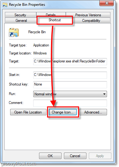 change a shortcut icon in windows 7