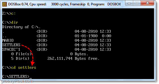 change directory to your dos root and folder
