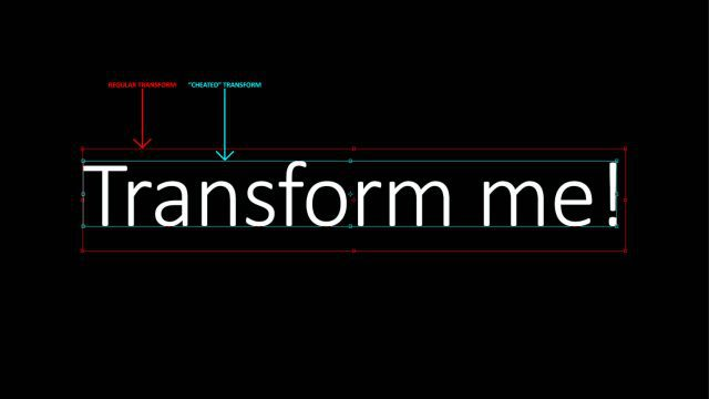 Cheat Photoshop Text Layer Transformations Trick transform me text bounds photoshop comparison traditional cheat new bounds smart accurate
