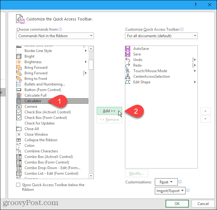 Select Calculator on the left, then Click Add on the Excel Options dialog box