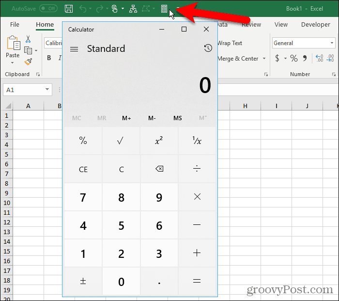 The Windows Calculator on the Quick Access Toolbar in Excel