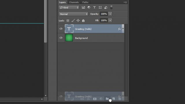 Cheat Photoshop Text Layer Transformations Trick add layer to group Photoshop layers panel
