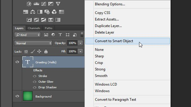Cheat Photoshop Text Layer Transformations Trick layer effects disabled layers panel Photoshop convert to smart object