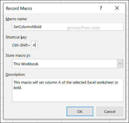 The Record Macro options menu in Excel