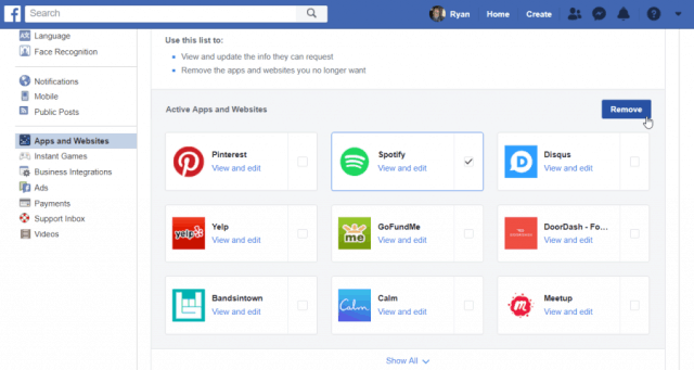 disconnect spotify from facebook
