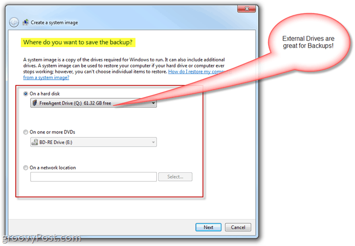 Windows 7 : Create a system image - choose where to backup