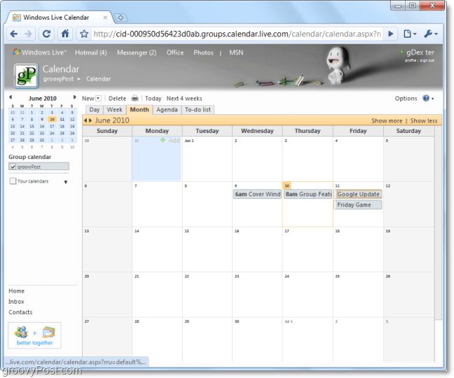 how to add items to live calendar in group