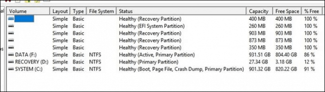 multiple recovery partitions 14393